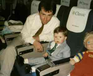 Young Damien On An Aer Lingus Flight To Ireland