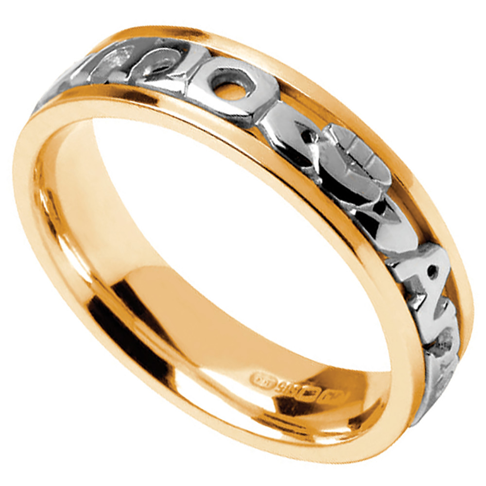 irish wedding rings bands celtic wedding rings white gold wedding bands Mo Anam Cara Ring Men s Yellow Gold with White Text Mo Anam Cara My Soul Mate Irish Wedding Ring
