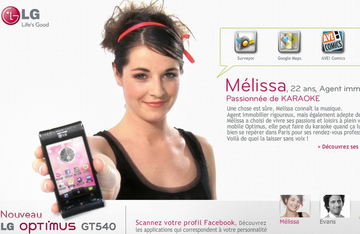 campagne smartphone lg optimus gt540 android