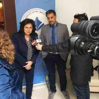 Η κα Βενετία Καλλιπολίτου, Deputy Managing Director της Tsakos Columbia Shipmanagement S.A. με τον κ. Μιχάλη Μπελέγρη, Διευθυντή του Κοινωφελούς Ιδρύματος «Μαρία Τσάκος»