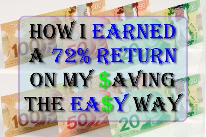 How I earned a 72% return on my saving the easy way