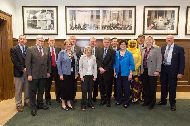 (left to right) Stephen Randolph, State Department; Michael Stevens, Association for Documentary Editing; George Miles, Organization of American Historians; Nicole Saylor, Library of Congress; Congressman Mark Meadows (NC), U.S. House of Representatives; Kaye Lanning Minchew, National Association of Government Archives and Records Administrators; Senator Daniel Sullivan (AK), U.S. Senate; David S. Ferreiro, Archivist of the United States and chairman of the Historical Publications and Records Commission; W. Eric Emerson, American Association for State and Local History; Naomi Nelson, Presidential Appointee; Rebecca Hankins, Presidential Appointee; William G. Thomas III, American Historical Association; Erin Mahan, Department of Defense; and Dennis Meissner, Society of American Archivists, pose for a photo following the Historical Publications and Records Comission Meeting at the National Archives in Washington, DC, on May 25, 2017. NARA photo by Jeff Reed.
