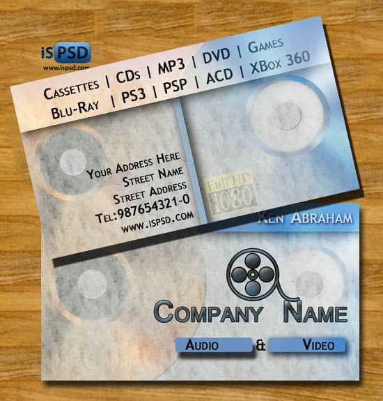 Audio Video Shop Card  PSD