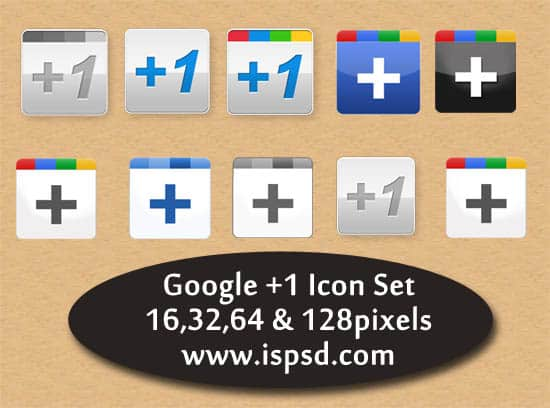 Google Plus +1 Icon Set  PSD