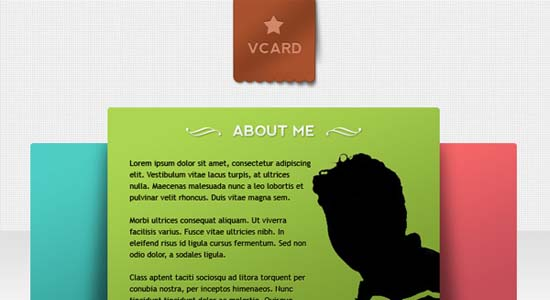 V-Card Minimal website PSD templates