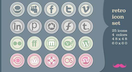 Retro social icon set