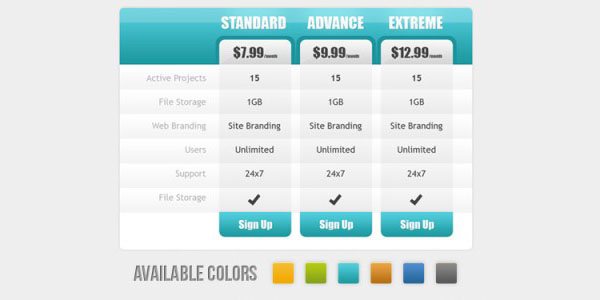 Web 2.0 Pricing Table