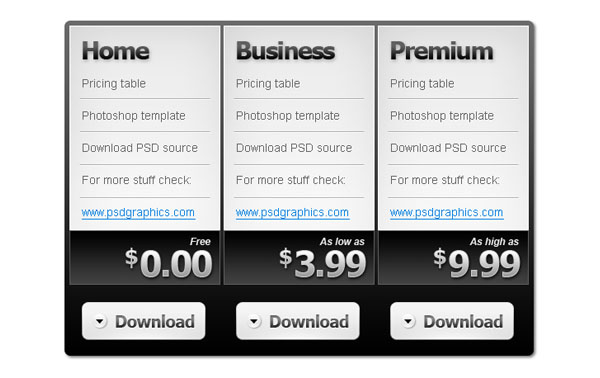 pricing table PSD