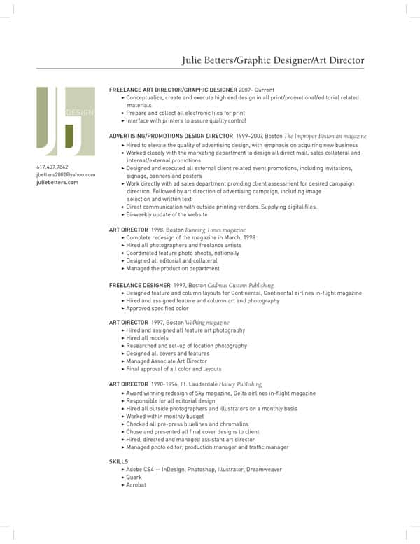 13288 simple graphic design resume