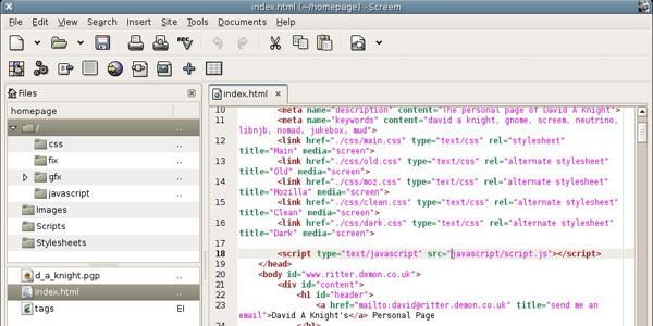 linux html editors
