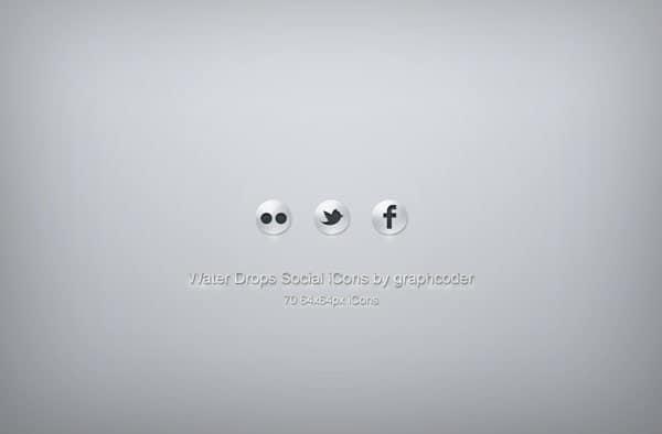 70 water drops social icons