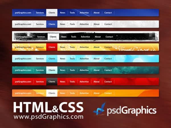 PSD web navigation, HTML and CSS menus set