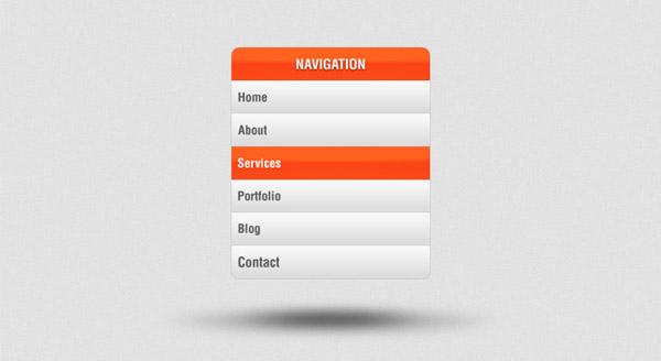 Vertical Navigation Menu PSD