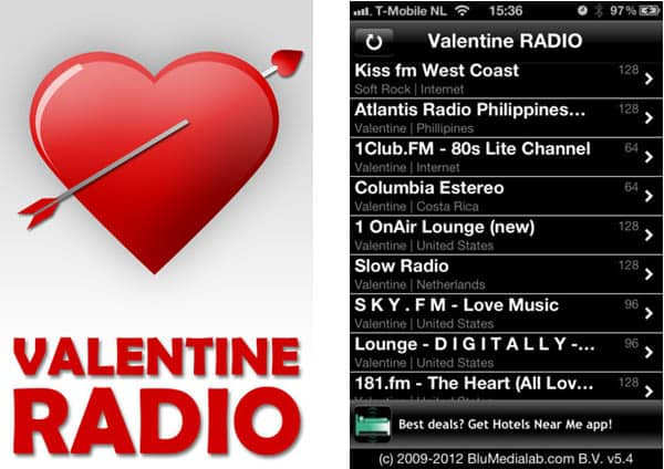 valentines radio apps
