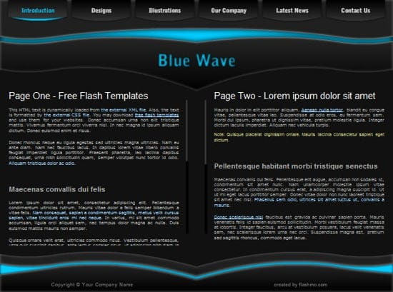free flash blue web template