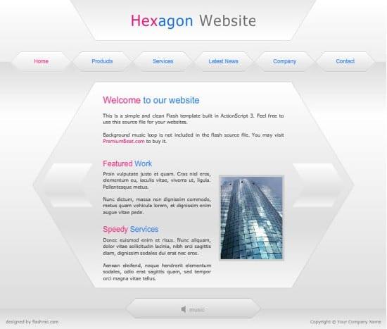 flash hexagon website template