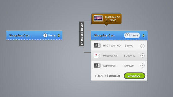 Shopping Cart Elements PSD