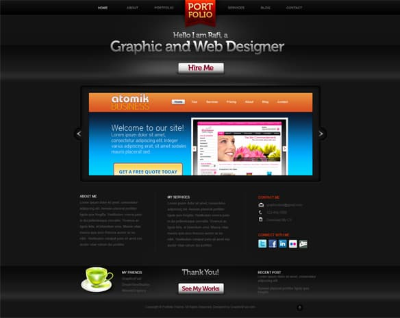 Dark and Sleek Website Layout Design