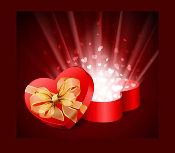 Bursting Hearts Gift Box Vector