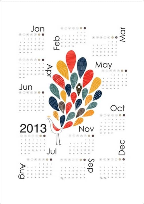 2013-Colorful-Peacock-Calendar