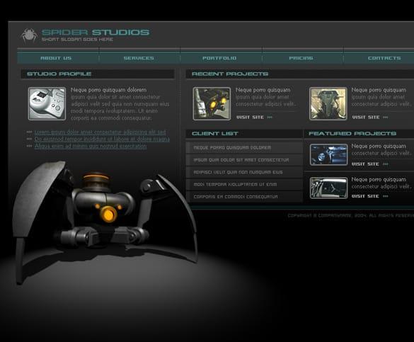 Sleek Dark 3 Web Page Templates PSD