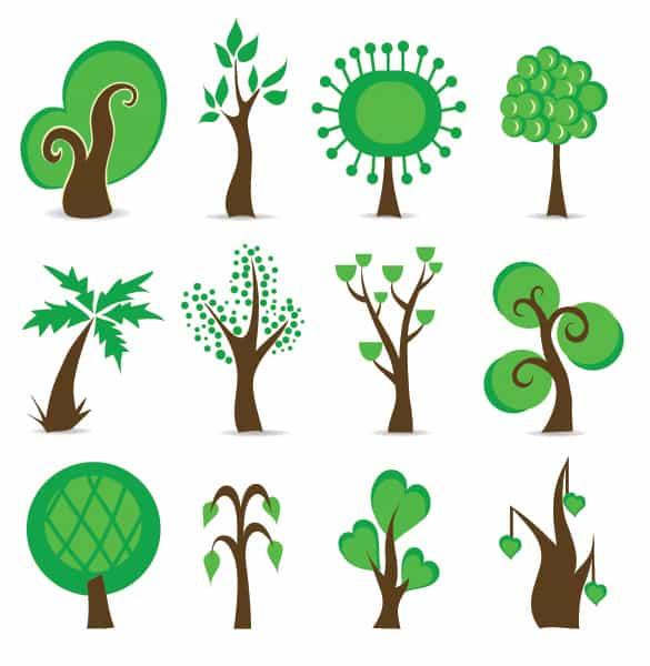 12 Green Abstract Tree Symbol Vectors