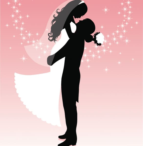 Joyful Bride and Groom Vector Silhouette