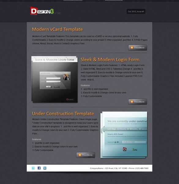 Dark Sleek Newsletter Template