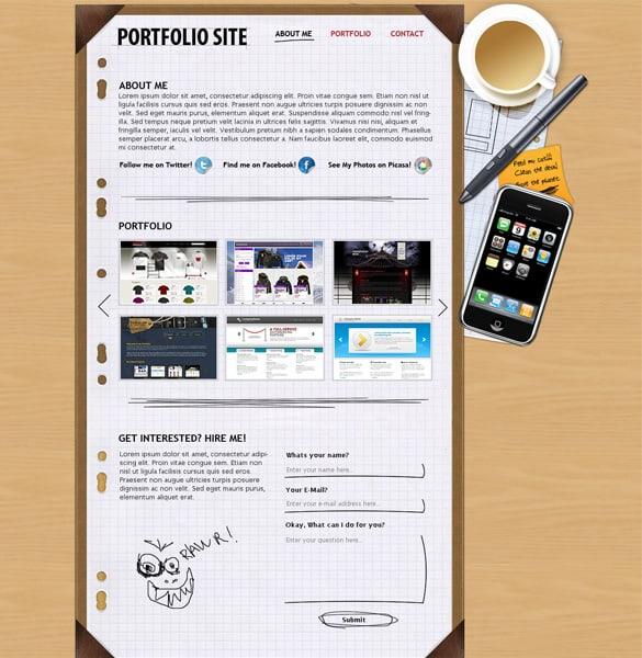 Personal Portfolio Web Layout PSD