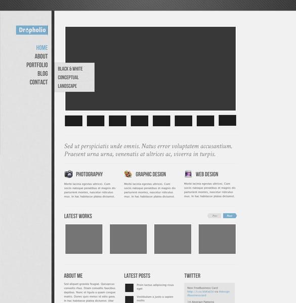 Simple Portfolio Homepage psd