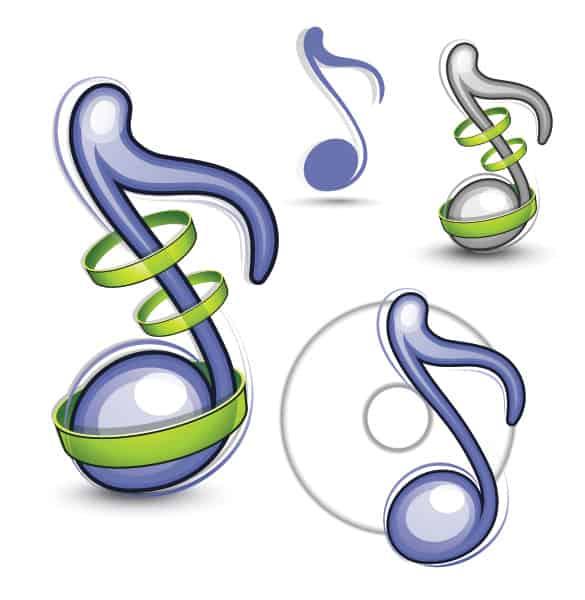 4 Glossy Musical Notes Vector Set
