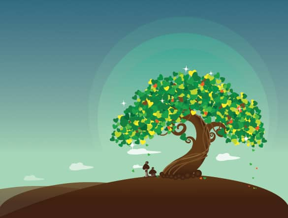 Solitary Wish Tree Vector Illustration