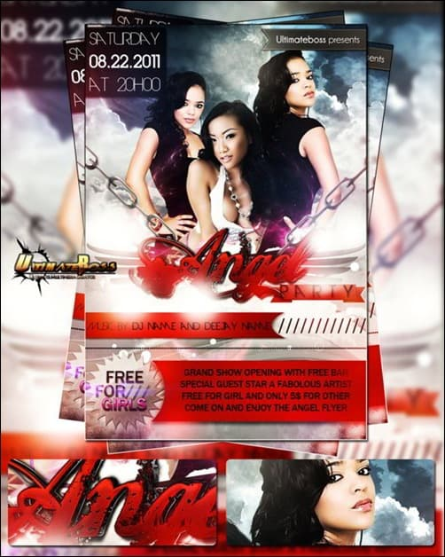 angel party free-PSD flyer templates