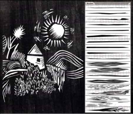 Lino-Cut-Brushes-illustrator-brush