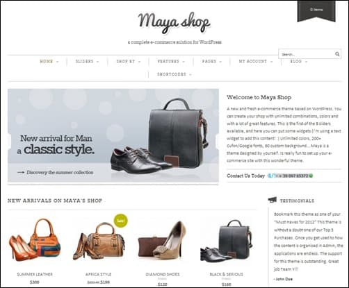 MayaShop responsive WordPress theme