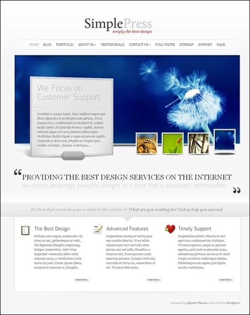 SimplePress simple wordpress themes