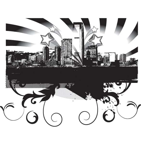 City Skyline Abstract Vector Background