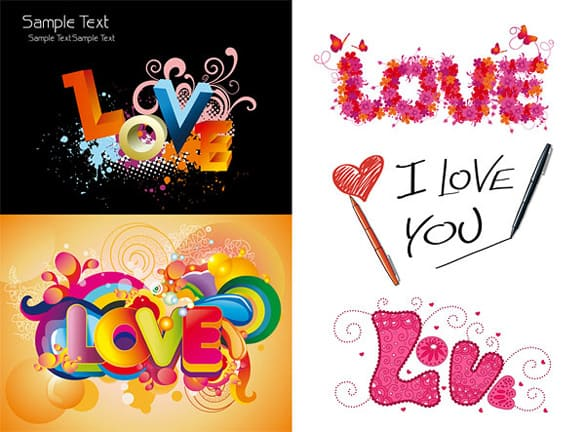 5 Unique Abstract Love Vectors
