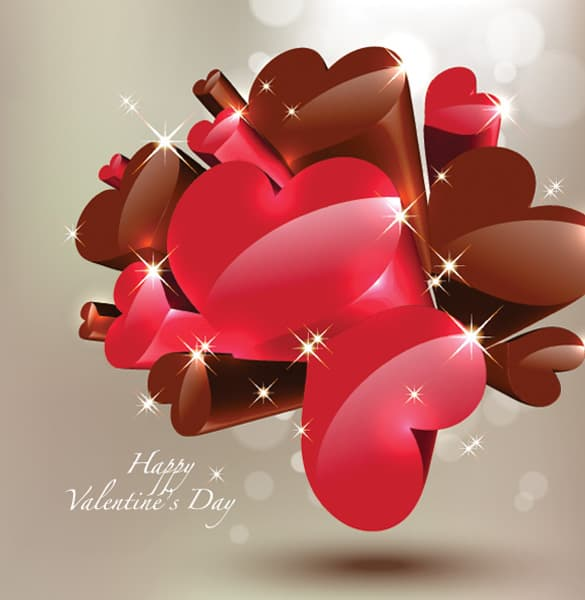 Hearts and Chocolate Valentine Vector