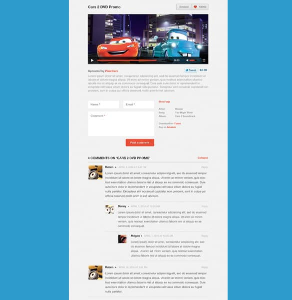 Video Layout with Comments PSD