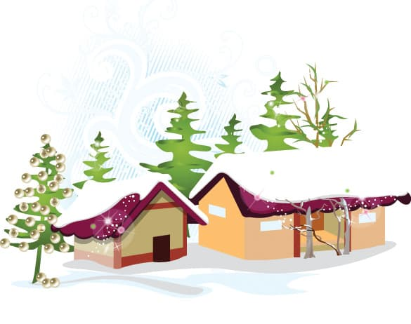 Winter House Vector Illustration