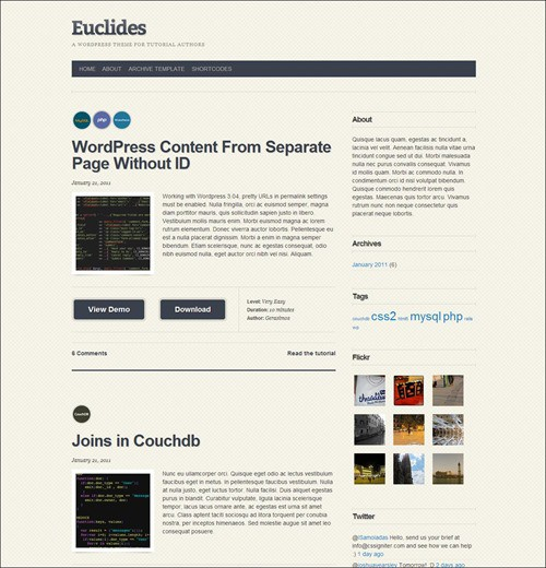 euclides simple wordpress themes