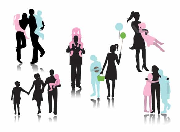 Family Together Vector Silhouettes