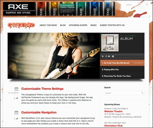 garage band wordpress music theme