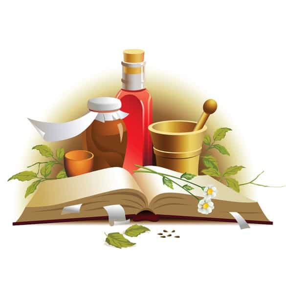Natural Herbal Medicine Vector Illustration