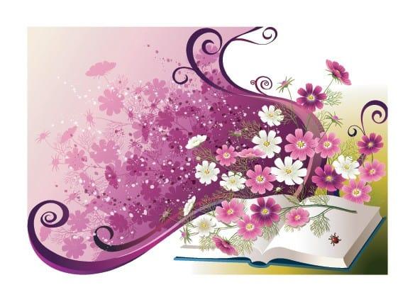 Vector Spring Floral Notebook Illustration