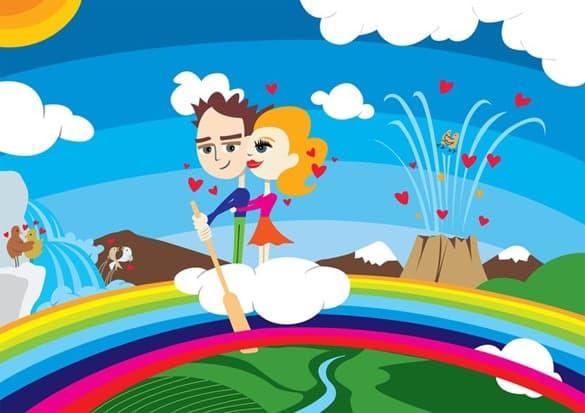 Crazy Love Rainbow Heaven Vector Art