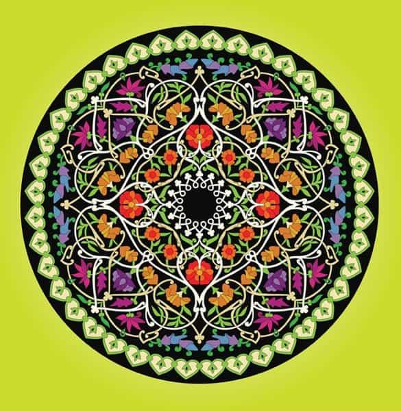 Delicate Floral Plant Circle Vector Art