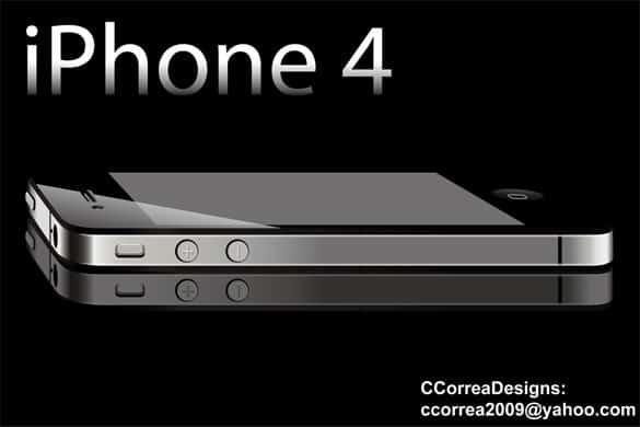 Sleek Dark iPhone 4 Vector Graphic