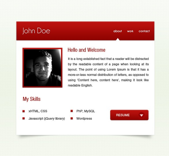3 Small Red vCard Webpages PSD